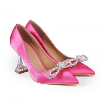 Kırmızı Süet Topuklu Bayan Sandalet 5050