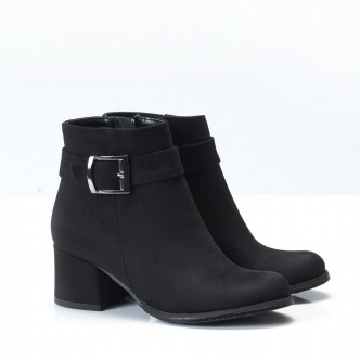 Siyah Süet Tokalı Kalın Topuklu Bayan Bot 7006