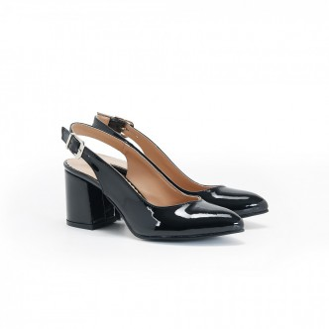 Kalın Topuklu Siyah Rugan Bayan Ayakkabı 4005