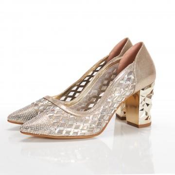 Altın Rengi Aynalı Bayan Sandalet 5055
