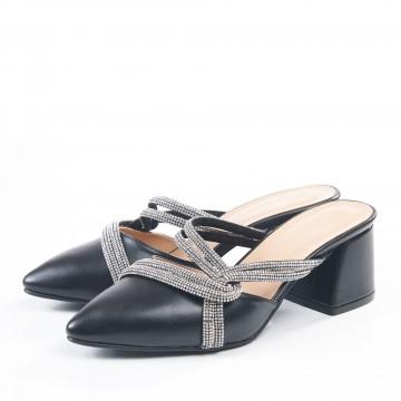 Siyah Süet Kalın Topuklu Sandalet 4010
