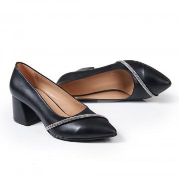 Siyah Süet Kalın Desenli Topuklu Sandalet 4010