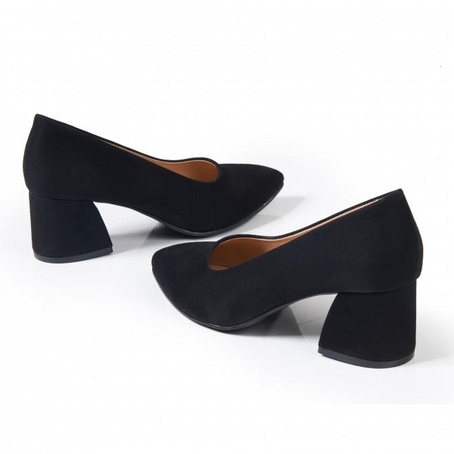 Siyah Süet Bilekten Bağlı Çapraz Atkılı Topuklu Sandalet 5051