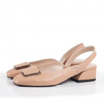 Kırmızı Yanları Kapalı Alçak Topuklu Sandalet 4052